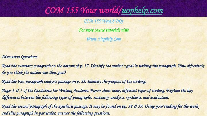 COM 155 Your world/