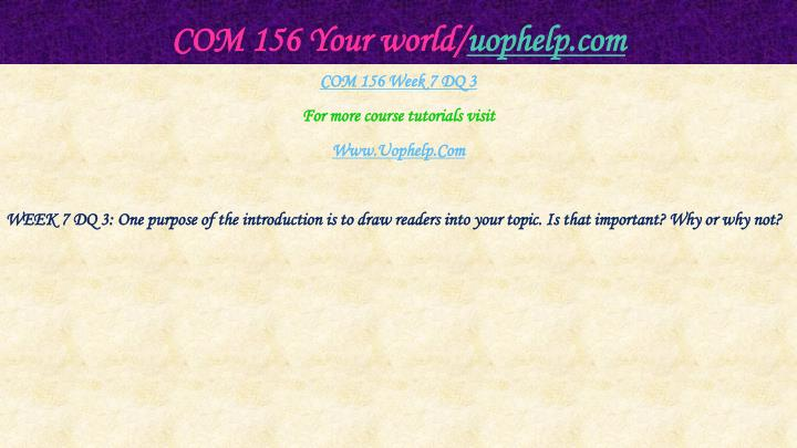 COM 156 Your world/