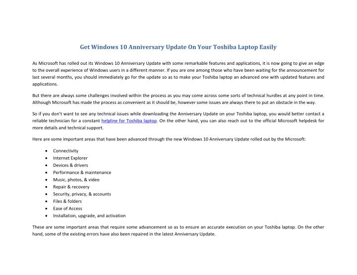 Get Windows 10 Anniversary Update On Your Toshiba Laptop Easily