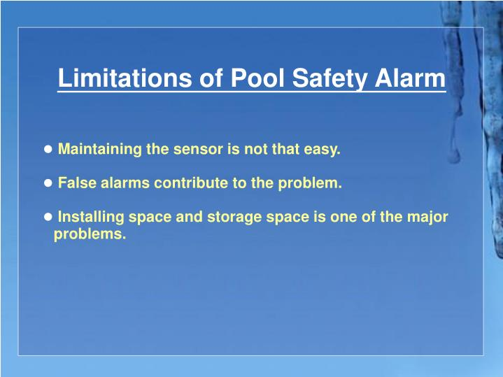 Limitations of Pool Safety Alarm