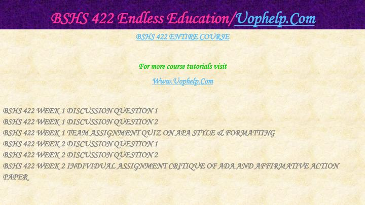 Bshs 422 endless education uophelp com1