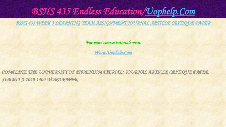 BSHS 435 Endless Education/