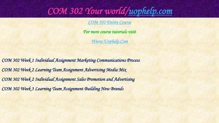 COM 302 Your world/
