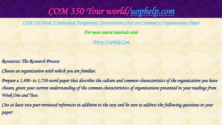 COM 350 Your world/