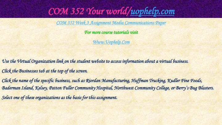 COM 352 Your world/