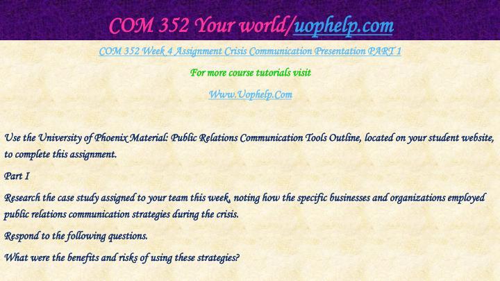 COM 352 Your world/