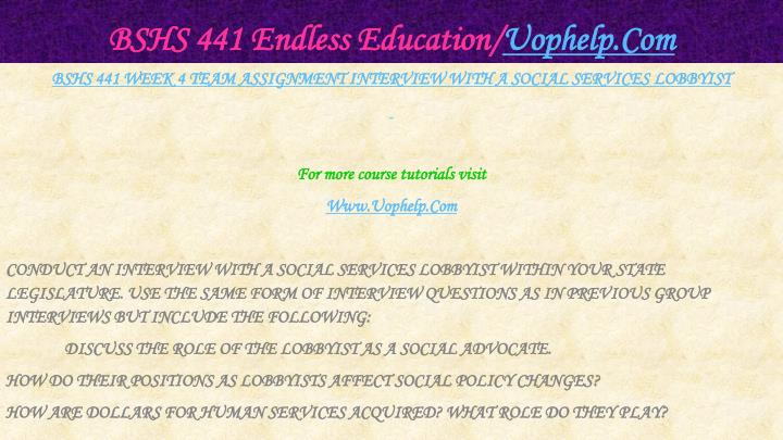 BSHS 441 Endless Education/