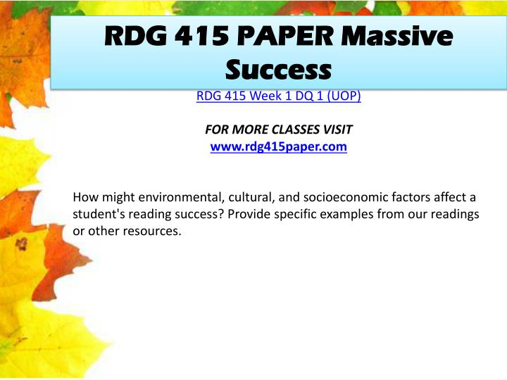 RDG 415 PAPER Massive Success