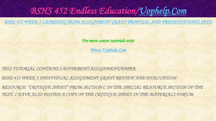 BSHS 452 Endless Education/
