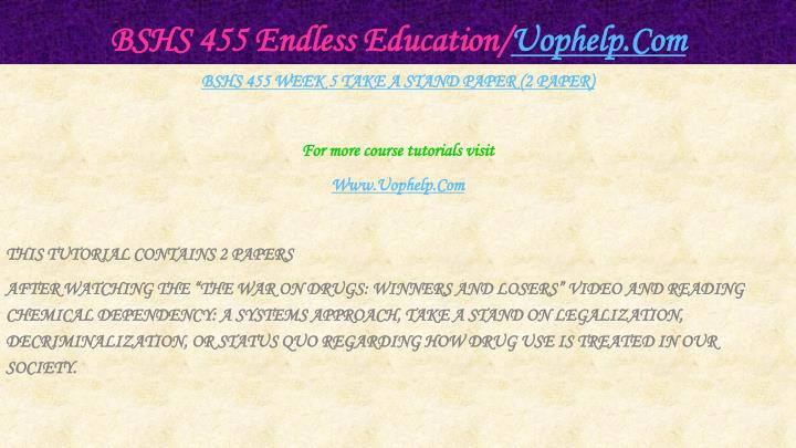 BSHS 455 Endless Education/
