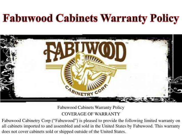 Fabuwood cabinets warranty policy