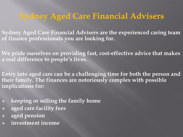 Sydney Aged Care Financial Advisers
