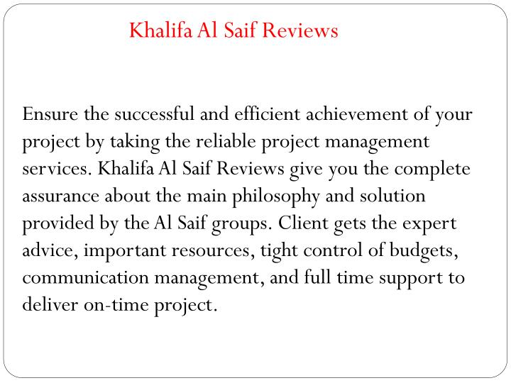 Khalifa Al Saif Reviews