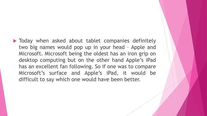 Today when asked about tablet companies definitely two big names would pop up in your head – Apple and Microsoft. Microsoft being the oldest has an iron grip on desktop computing but on the other hand Apple's iPad has an excellent fan following. So if one was to compare Microsoft's surface and Apple's iPad, it would be difficult to say which one would have been better.