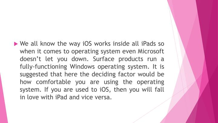 We all know the way iOS works inside all iPads so when it comes to operating system even Microsoft doesn't let you down. Surface products run a fully-functioning Windows operating system. It is suggested that here the deciding factor would be how comfortable you are using the operating system. If you are used to iOS, then you will fall in love with iPad and vice versa.