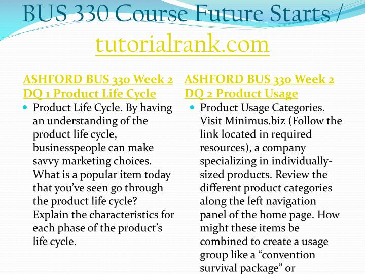 BUS 330 Course Future Starts /