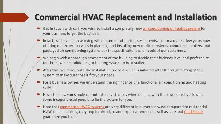 Commercial hvac replacement and installation