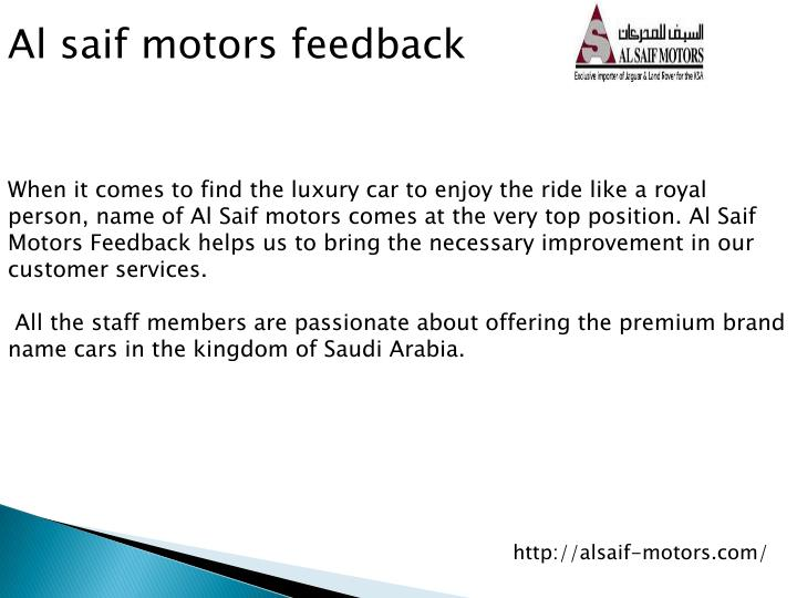 Al saif motors feedback