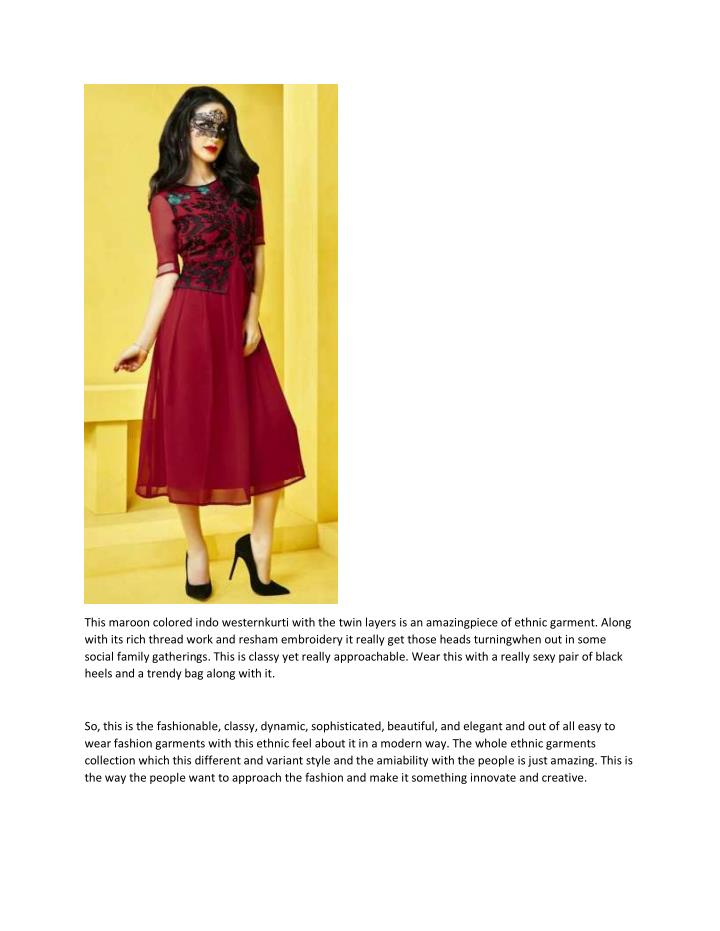 This maroon colored indo westernkurti with the twin layers is an amazingpiece of ethnic garment. Along