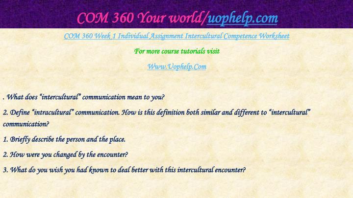 COM 360 Your world/