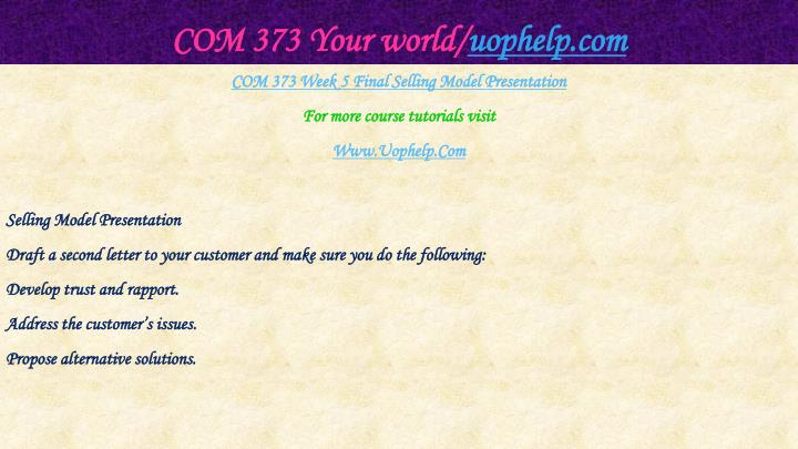 COM 373 Your world/
