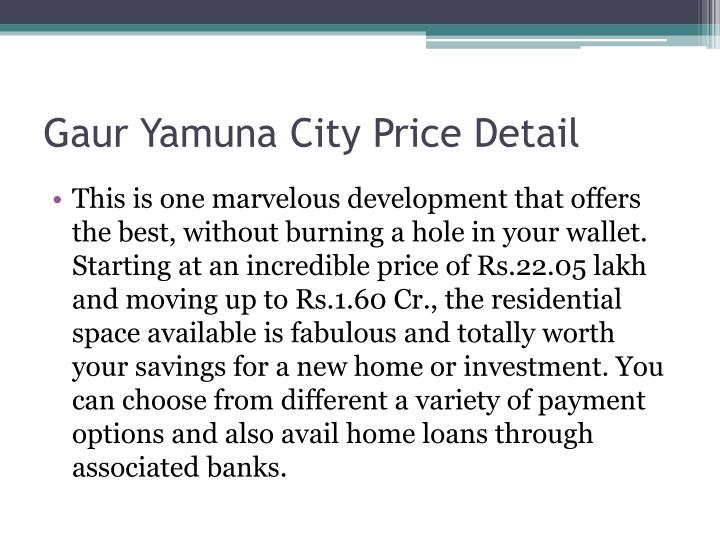 Gaur Yamuna City Price Detail