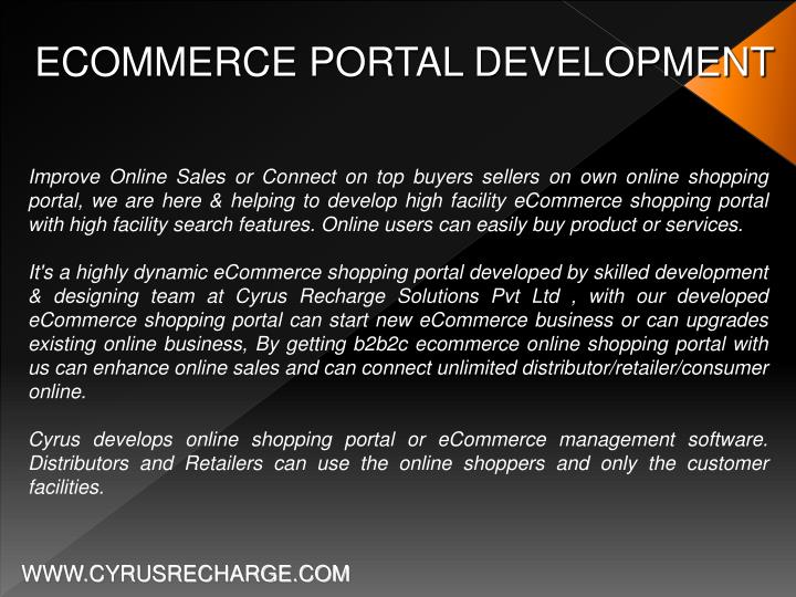 ECOMMERCE PORTAL DEVELOPMENT