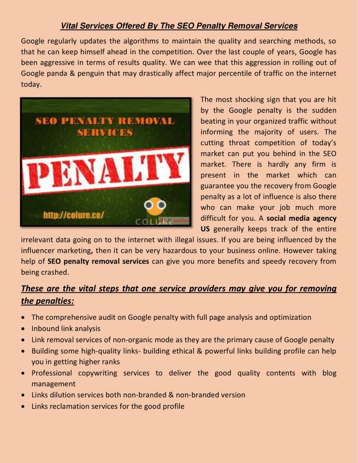 Vital Services Offered By The SEO Penalty Removal Services