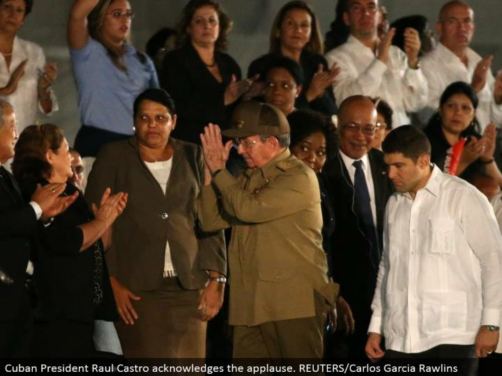 Cuban President Raul Castro recognizes the praise. REUTERS/Carlos Garcia Rawlins