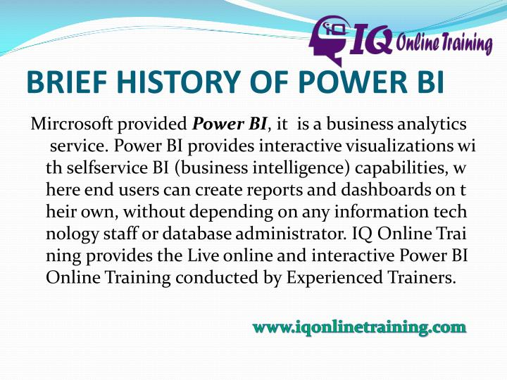 Brief history of power bi