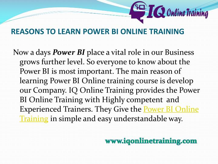 REASONS TO LEARN POWER BI ONLINE TRAINING