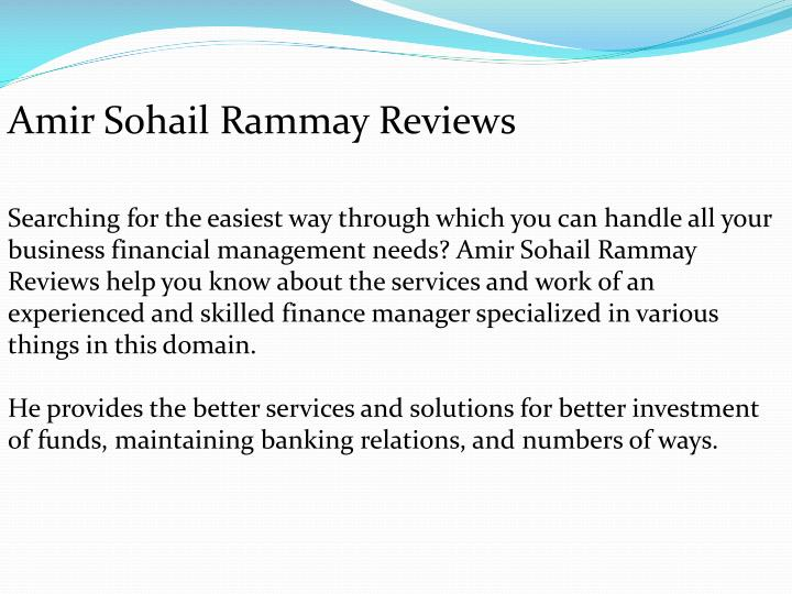 Amir Sohail Rammay Reviews