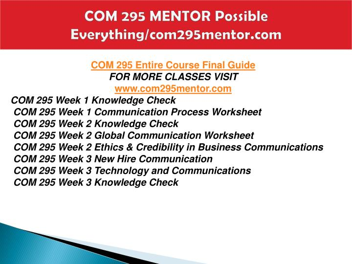 Com 295 mentor possible everything com295mentor com1