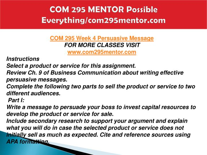 COM 295 MENTOR Possible Everything/com295mentor.com
