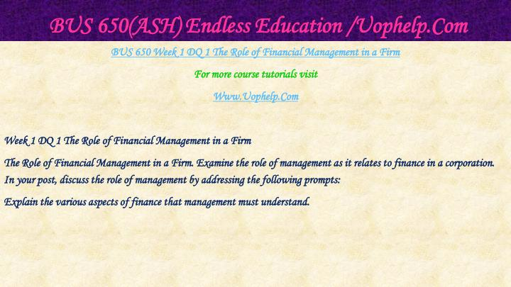 Bus 650 ash endless education uophelp com2