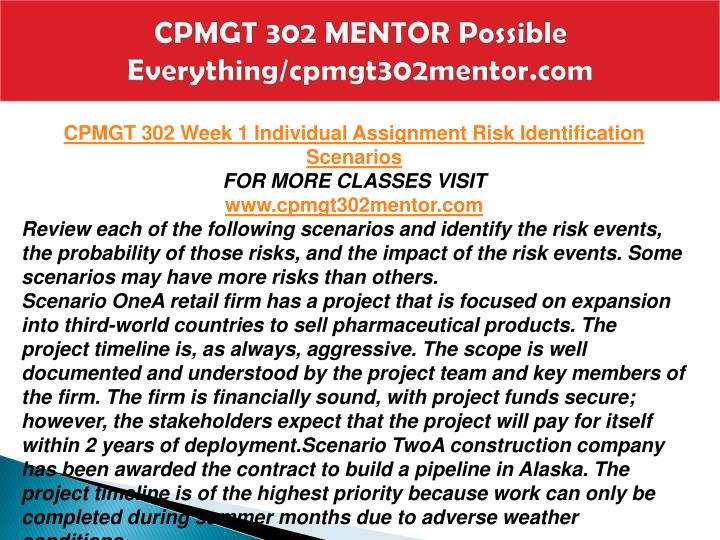 CPMGT 302 MENTOR Possible Everything/cpmgt302mentor.com