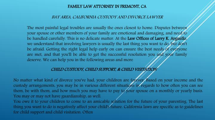 FAMILY LAW ATTORNEY IN FREMONT, CA