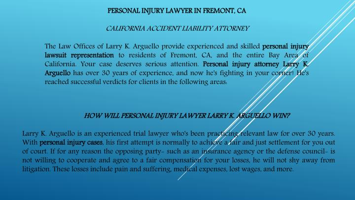 PERSONAL INJURY LAWYER IN FREMONT, CA