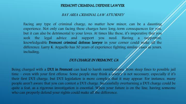 FREMONT CRIMINAL DEFENSE LAWYER