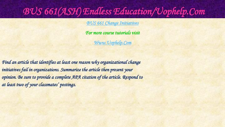 Bus 661 ash endless education uophelp com2