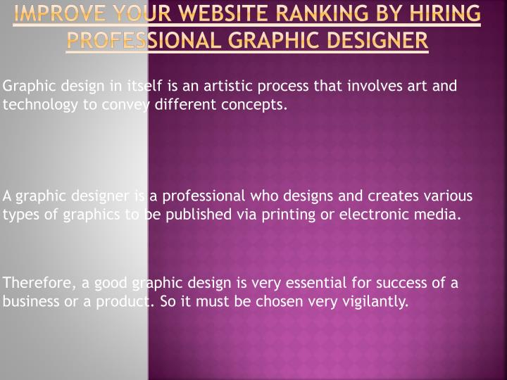 Improve your website ranking by hiring professional graphic designer