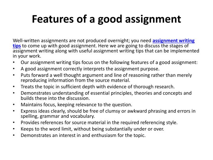 Features of a good assignment