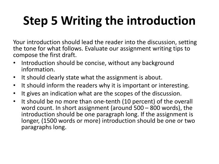 Step 5 Writing the introduction