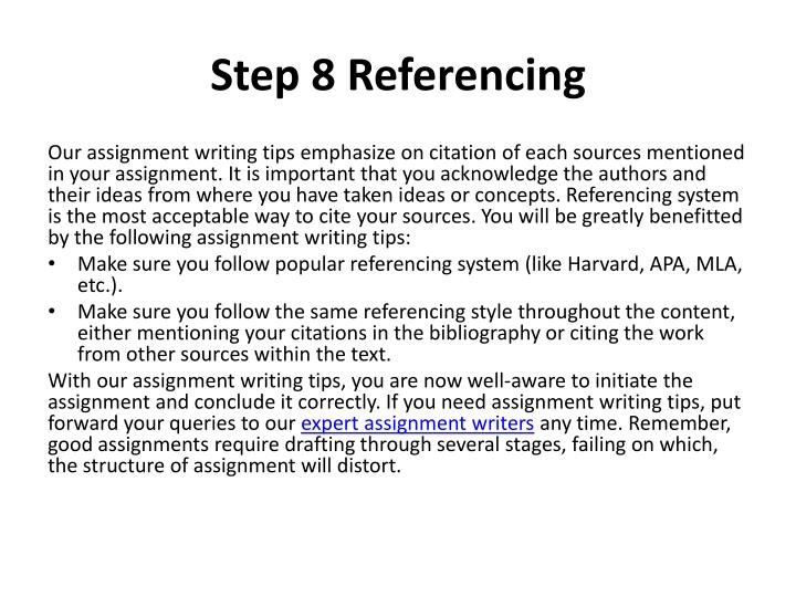 Step 8 Referencing