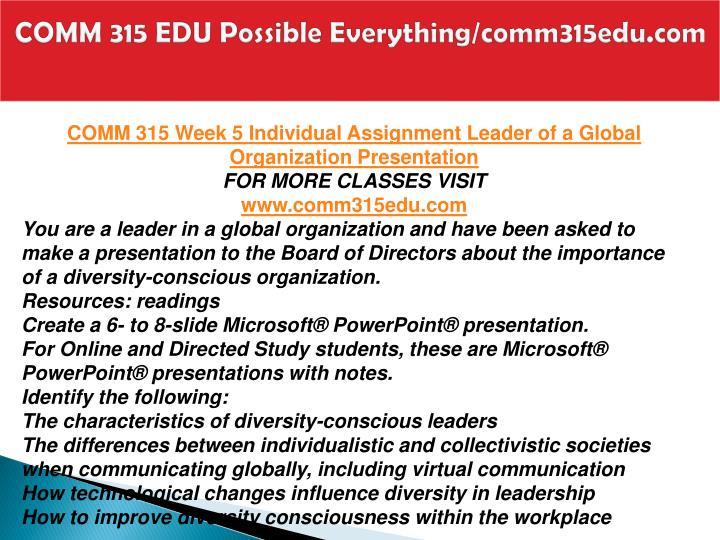 COMM 315 EDU Possible Everything/comm315edu.com