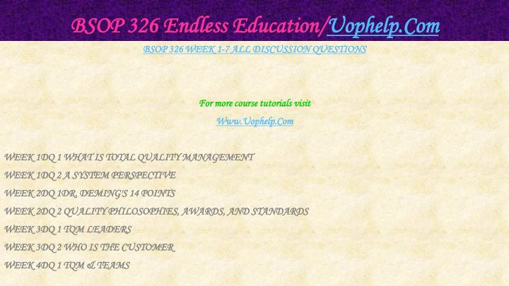 Bsop 326 endless education uophelp com1