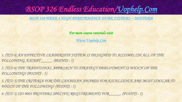 Bsop 326 endless education uophelp com2