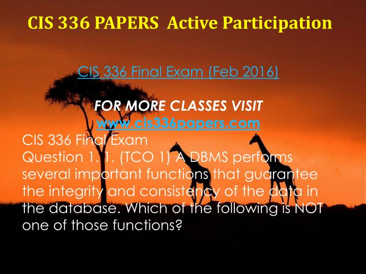 CIS 336 PAPERS
