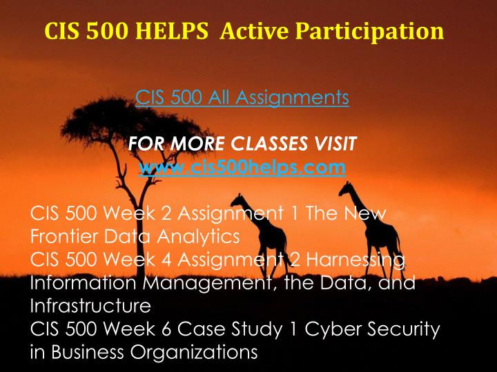 CIS 500 HELPS