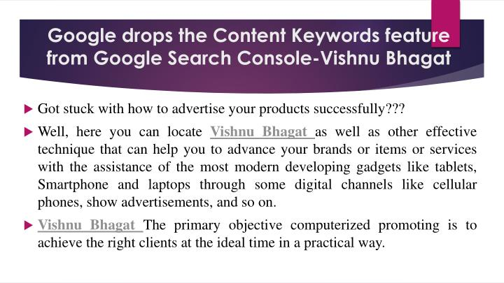 Google drops the content keywords feature from google search console vishnu bhagat